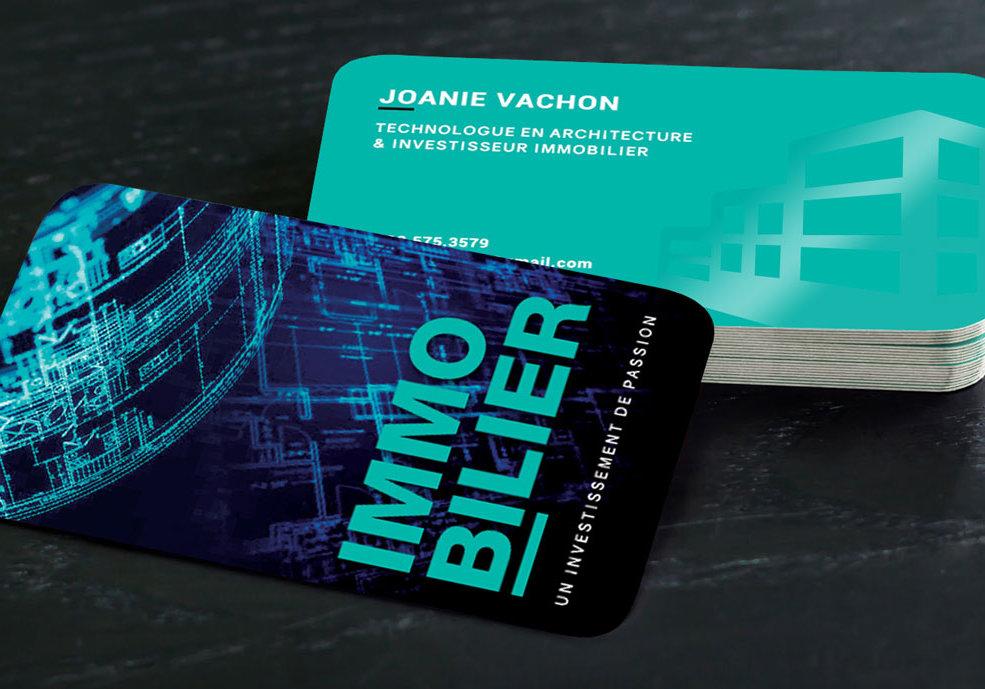 Conception graphique et impression de cartes d'affaires pour Joanie Vachon
