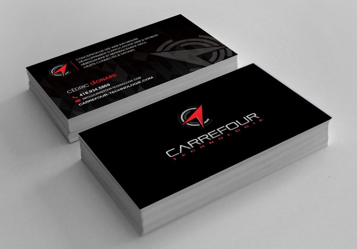 Conception graphique et impression de cartes d'affaires pour Carrefour Charlesbourg