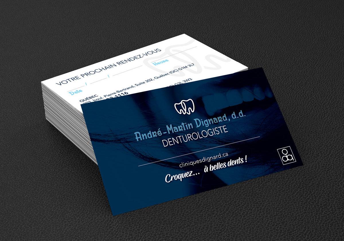 Conception graphique et impression de cartes d'affaires pour le Denturologiste André-Martin Dignard