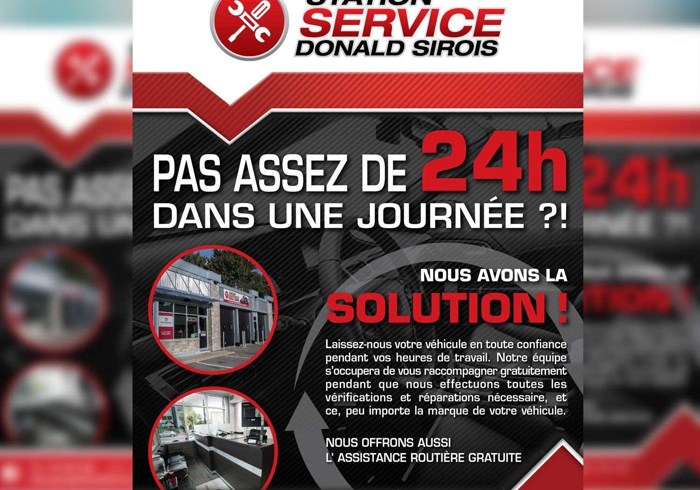 Conception graphique d'une publicité pour la Station service Donald Sirois