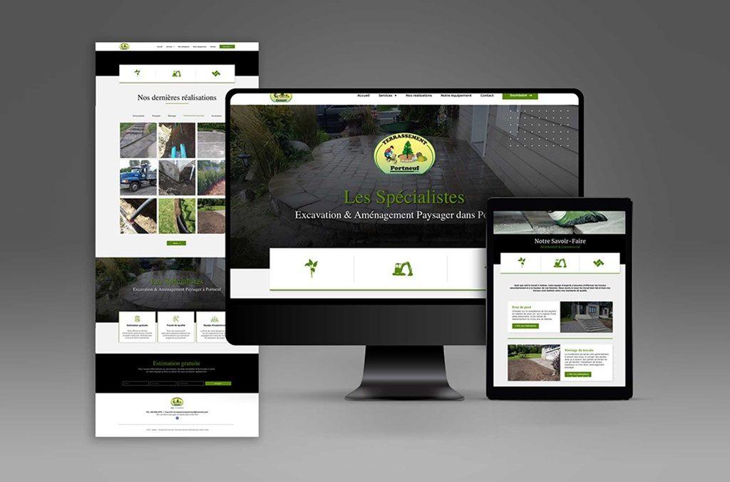 Conception et réalisation d'un site internet WordPress de 4 pages pour Terrassement Portneuf