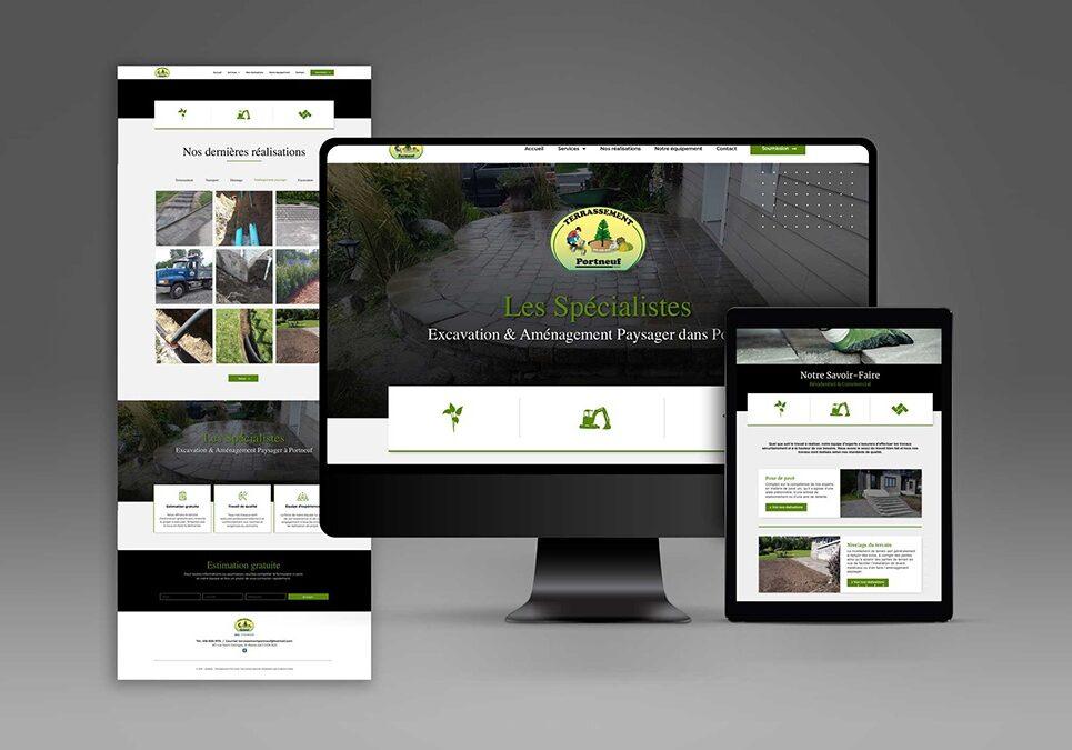 Conception et réalisation d'un site internet WordPress de 4 pages pour Terrassement Portneuf.